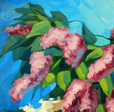 Blossoming lilac, illustration, painting Royalty Free Stock Photos