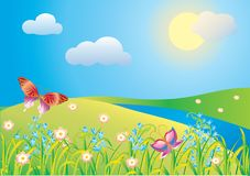 Blossoming meadow. With flowers and butterfly royalty free illustration