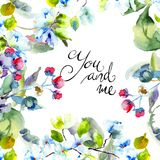 Blossoming tree brunch with title You and me. Watercolor illustration Stock Images