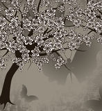 Blossoming tree and butterflies. Beautiful blossoming tree and butterflies, format Stock Illustration