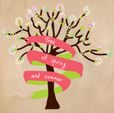 Blossoming tree card with frame for text. For spring or summer Royalty Free Stock Photos