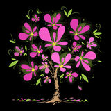 Blossoming tree with pink flowers on black background. Art blossoming tree with pink flowers on black background Stock Photography