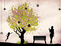 Blossoming tree and woman. Illustration of cherry blossom tree, bench and woman on grunge background Stock Illustration