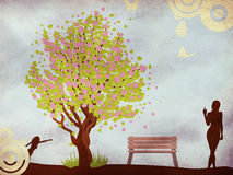 Blossoming tree and woman. Illustration of cherry blossom tree, bench and woman on grunge background Vector Illustration