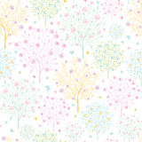Blossoming trees seamless pattern background. Vector blossoming trees seamless pattern background with floral elements stock illustration