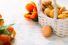 Blossoming tulips with macaroons on a light wooden background. Still life, spring concept stock image