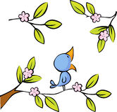 Blossoming twig seated birds - vector Stock Photos