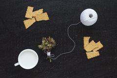 Blossoming twigs, milk, cotton skein and cookies Royalty Free Stock Photo