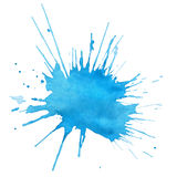 Blot of blue watercolor. Isolated on white royalty free illustration