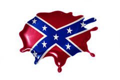 Blot with confederate flag. On the white background.3D illustration Stock Image
