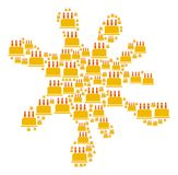 Blot Figure of Birthday Cake Icons. Blot area constructed of birthday cake icons in variable sizes. Abstract vector blob representaion. Birthday cake icons are Stock Photo
