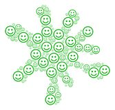 Spot Collage of Glad Smiley Icons. Blot figure formed from glad smiley items in various sizes. Abstract vector splatter illustration. Glad smiley icons are Stock Photography