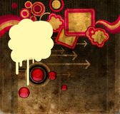 Blot on grunge background. Blot over a grunge background with arrows and circles stock illustration