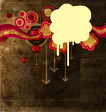 Blot on grunge background. Blot over a grunge background with arrows and circles royalty free illustration