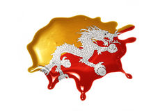 Blot with national flag of bhutan Royalty Free Stock Images