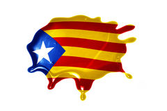 Blot with national flag of catalonia. On the white background Royalty Free Stock Photography