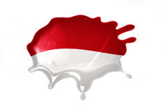 Blot with national flag of indonesia. On the white background royalty free stock photography
