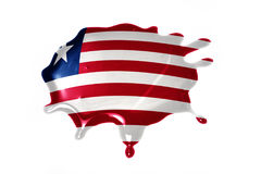 Blot with national flag of liberia. On the white background Royalty Free Stock Photo
