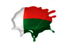 Blot with national flag of madagascar. On the white background Royalty Free Stock Images