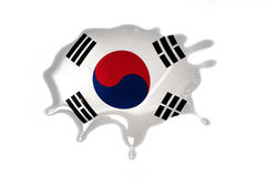 Blot with national flag of south korea. On the white background stock photos