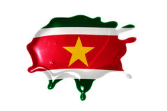 Blot with national flag of suriname Royalty Free Stock Photos