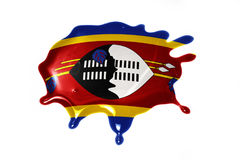 Blot with national flag of swaziland. On the white background Stock Image