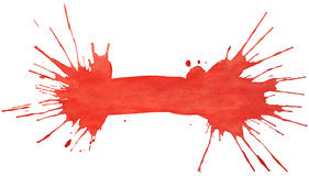 Blot of red watercolor. Isolated on white paper stock images