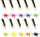 Blots. 10 different blots from a pen on a white background Stock Images