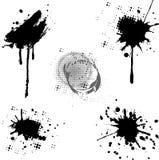 Blots. Set ink black splashes on white background Royalty Free Stock Photo