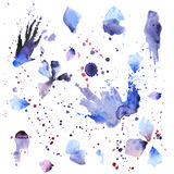 Blots of paint. Drip and blots of blue and purple watercolor paint on white background stock illustration