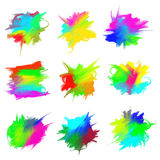 Blots of paint. Vector set of bright colored blots - drawn by oil paints Royalty Free Stock Images