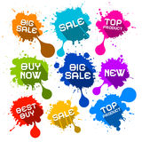 Blots Splashes Sale Icons Stock Photo