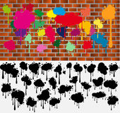 Blots on a wall a. Symbols of the begun to flow paint, templates for designers Royalty Free Stock Image