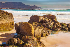 Blouberg beach with a view of the Table Mountain. And Cape Town Royalty Free Stock Photography