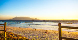 Blouberg beach. With a view of the Tafel mountain and Cape Town Royalty Free Stock Photos