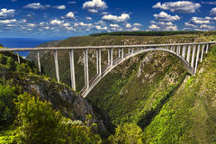 Bloukrans Bridge, South Africa. South Africa. Western Cape Province, Tsitsikamma region of the Garden Route. The Bloukrans Bridge seen from the north world`s Royalty Free Stock Image
