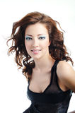 bloun卷曲逗人喜爱的发型妇女 免版税图库摄影