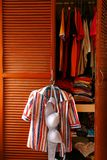 Blouse and bra hanging by a clothes cabinet door Royalty Free Stock Photos