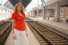 blouse girl outdoors red stylish Στοκ Φωτογραφίες