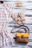 Blouse and purse with sandals. Royalty Free Stock Photography