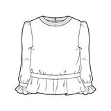 Blouse. Tech sketch of a blouse for further product development Stock Photo