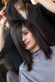 Blow Dry Performed by Professional in Salon Royalty Free Stock Photo