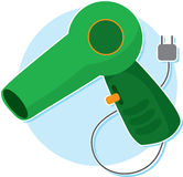Blow Dryer. Green Blow Dryer with Plug and Cord royalty free illustration