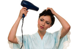 Blow drying hair Royalty Free Stock Photos
