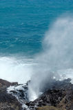 The Blow Hole. Oahu's famous Blow Hole where the ocean water sprays through volcanic rock Stock Photos