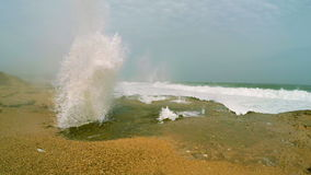 Blow hole. At Al Mughsayl beach near Salalah, Oman stock video
