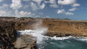 Blow hole on Curacao stock video footage