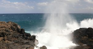 Blow hole at the northern coastline of Maui stock footage