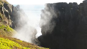 Blow hole at Punakaiki`s pancake rocks stock video footage