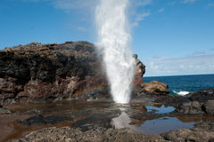 Blow hole with Rainbow, Maui HI Royalty Free Stock Photo